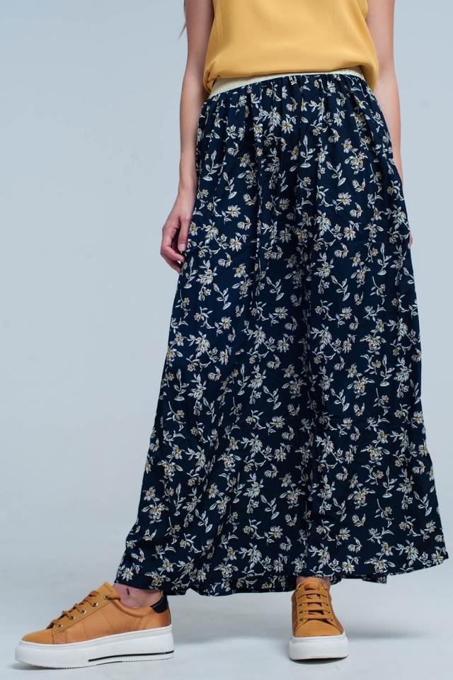 Saia longa da azul marinho com padrão floral