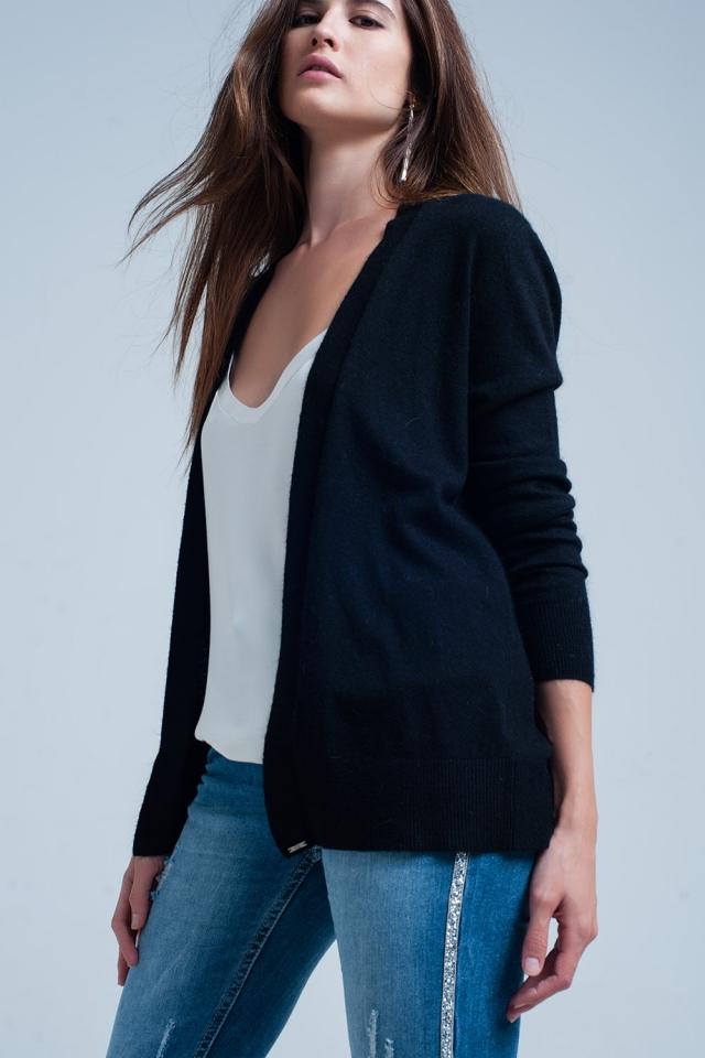 Casaco de lã com angora preta macio mangas compridas