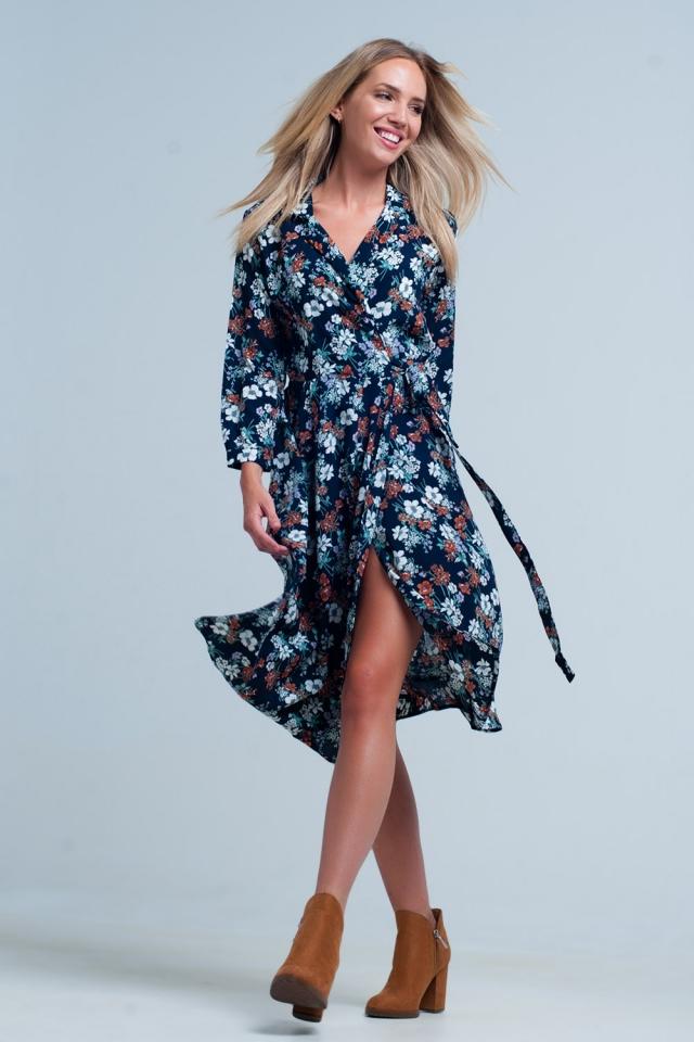 Vestido de envoltório com estampa floral