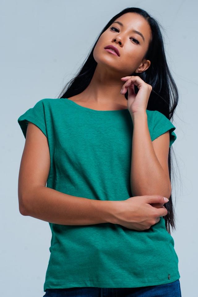 T-shirt verde com decote redondo