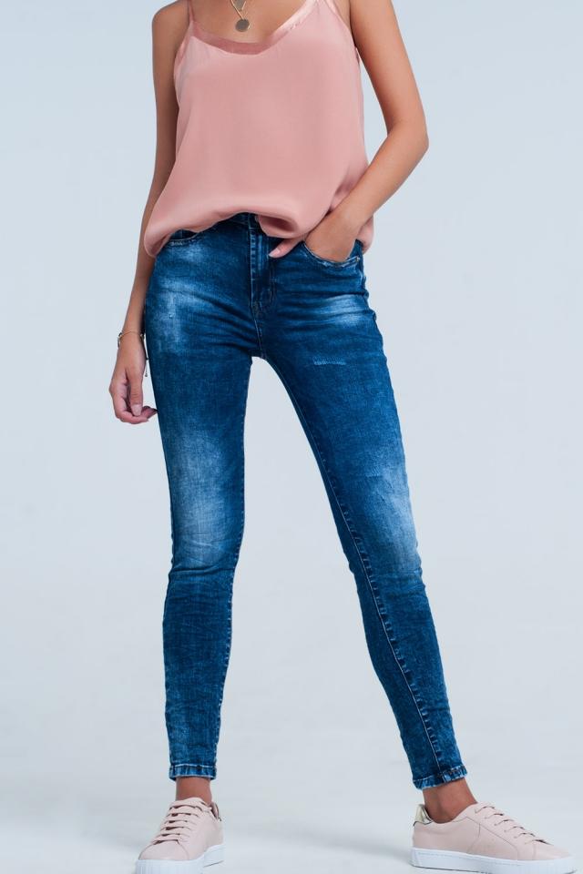 calças de ganga de cintura alta Lavagem azul