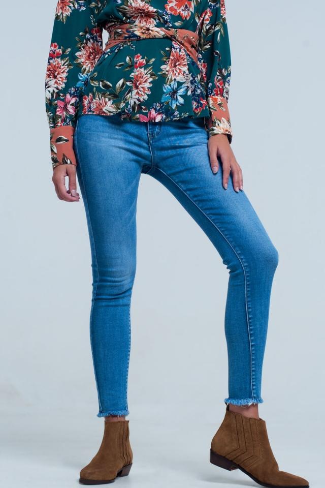 Calças de ganga cintura alta lavado azul médio