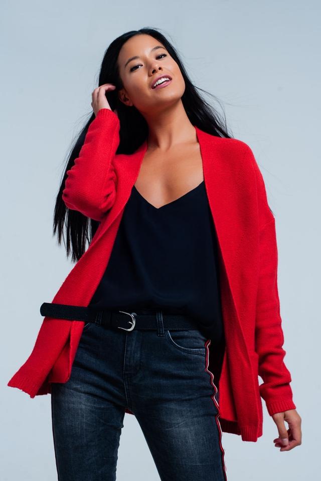 casaco de lã vermelho com bolsos