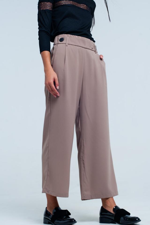Culottes beige Perna larga com detalhe de cintura