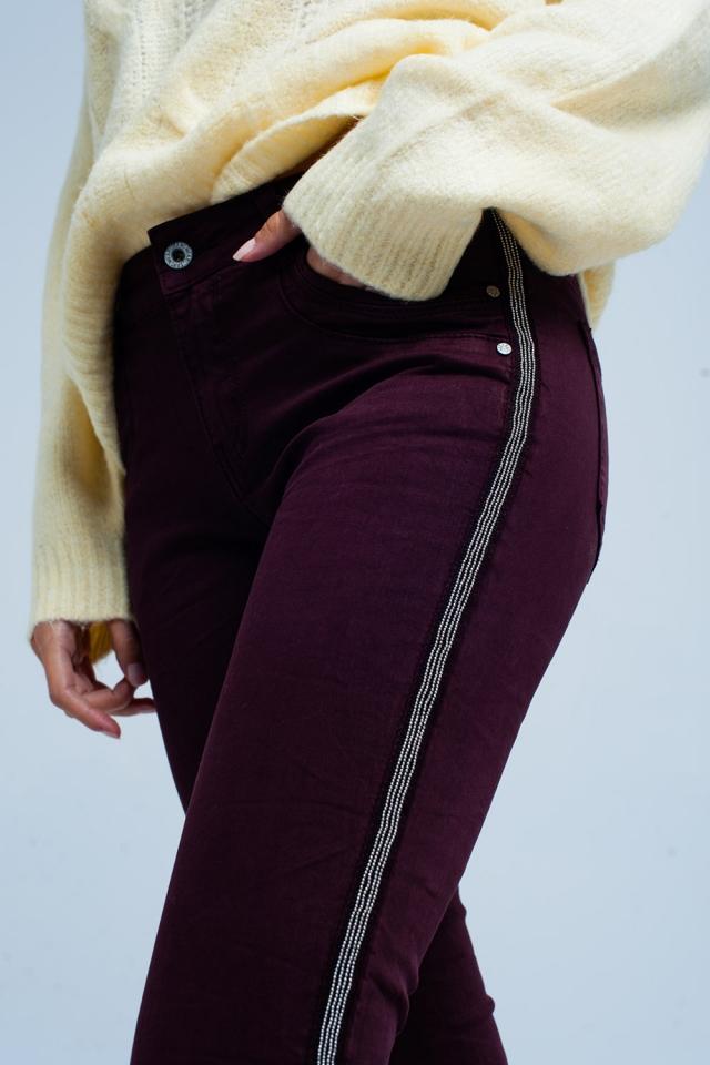 Jeans skinny Bourdeaux com listra lateral de metal