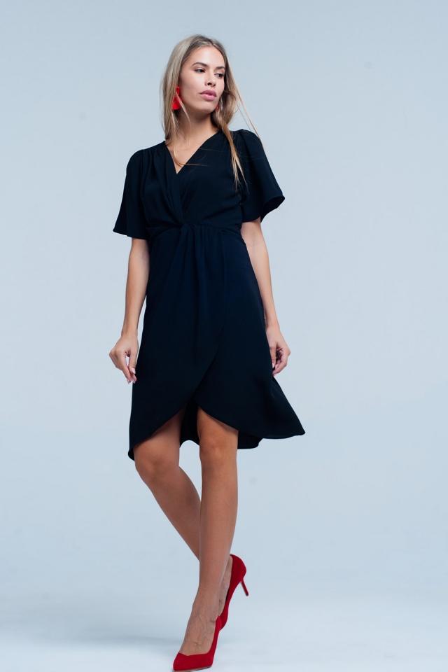 Vestido preto Midi de envoltório