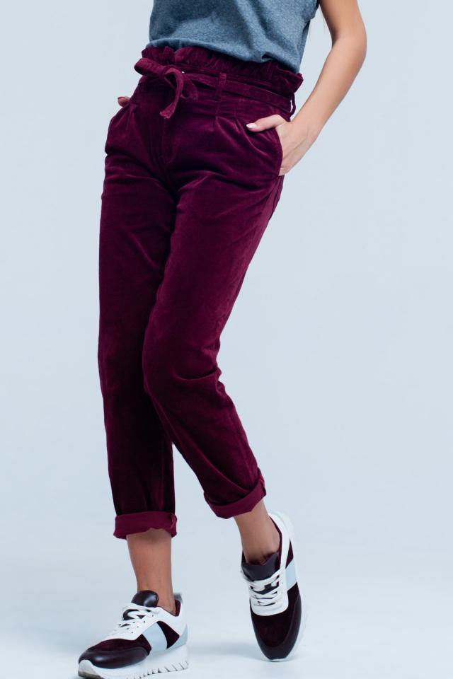 Calças Bordeaux paperbag de cintura alta com cinto