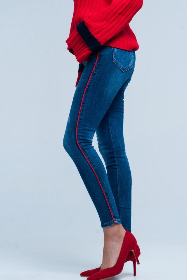 Calças de ganga skinny azul com listra lateral de vermelha