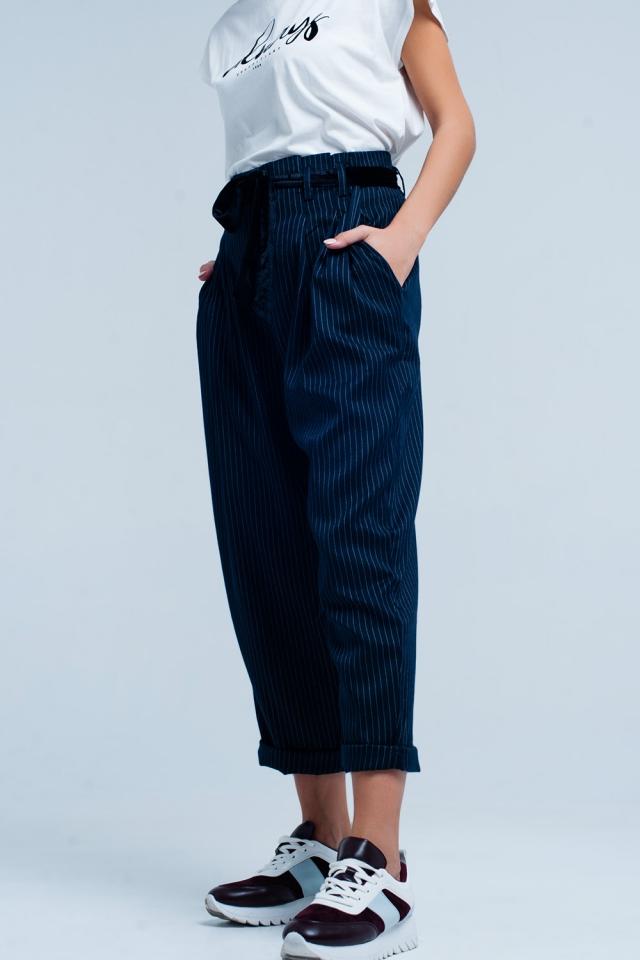 Calça Cinza Escuro com cintura alta