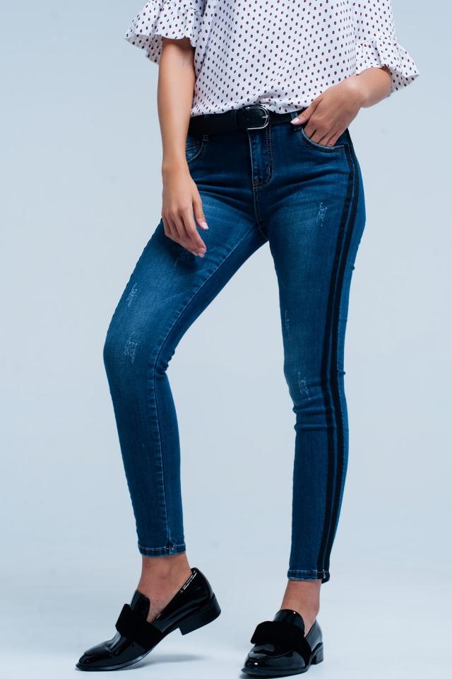 Calças de ganga skinny Azul com listra lateral de preto
