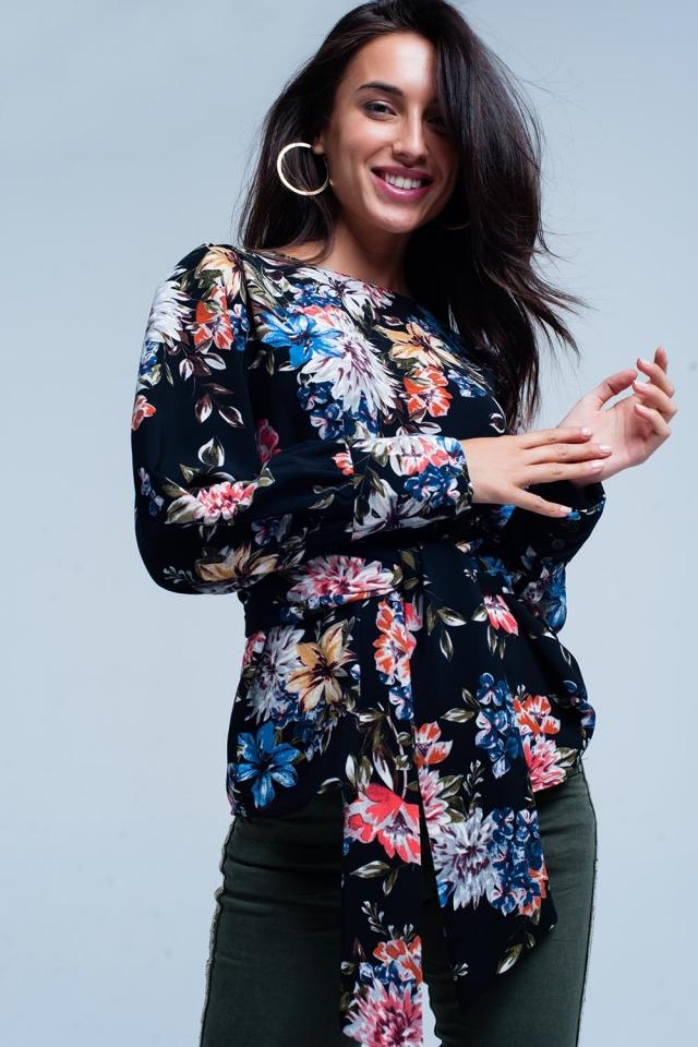 Blusa com estampa floral Preto e laço na frente