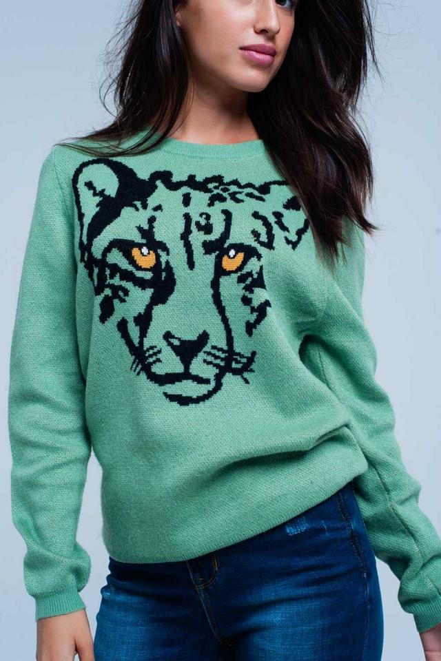 Blusa Verde fina com Leopard