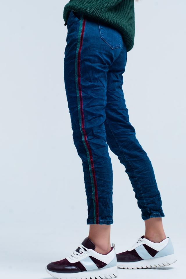 calças de ganga baggy com listra lateral
