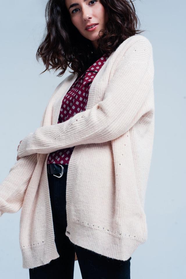 Casaco de lã com angora Rosa macio mangas compridas