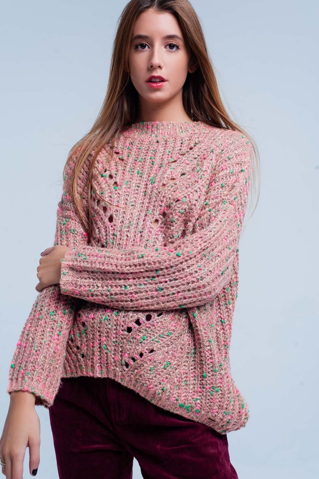 Pink Chunky Fleck Knit Sweater Green Detail