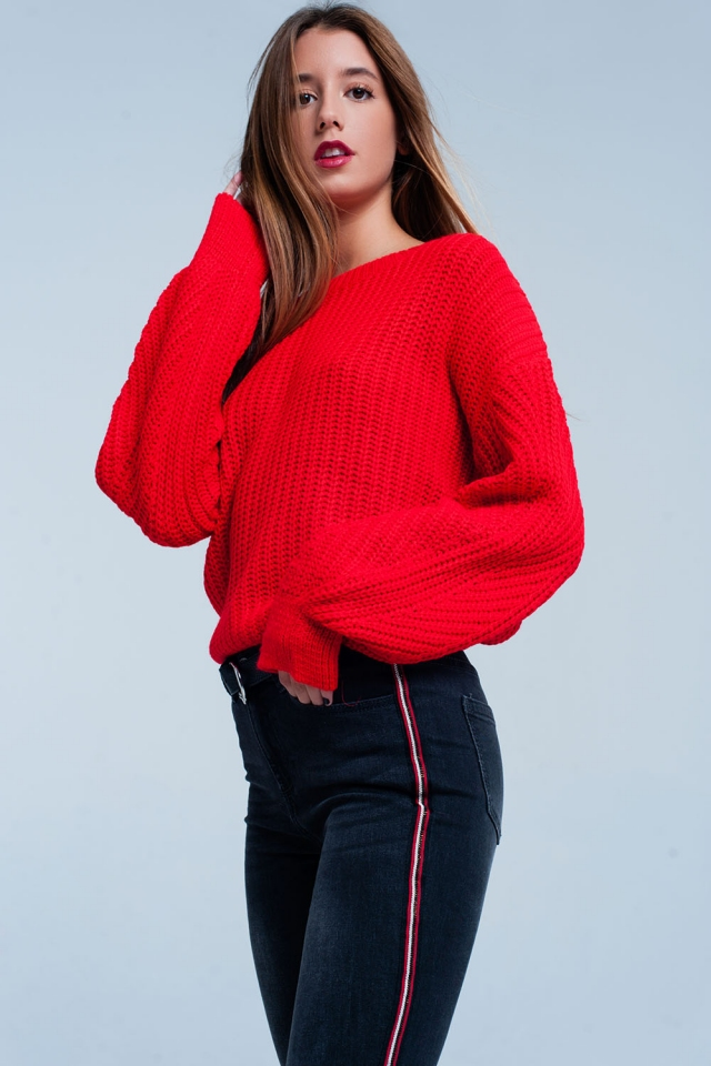 Red Waffle Knitted Sweater