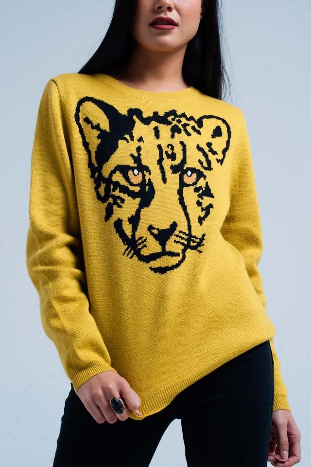 Camisola de malha de mostarda com leopardo