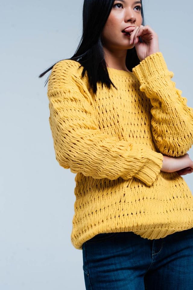 Mustard Dropstitch Knitted Sweater