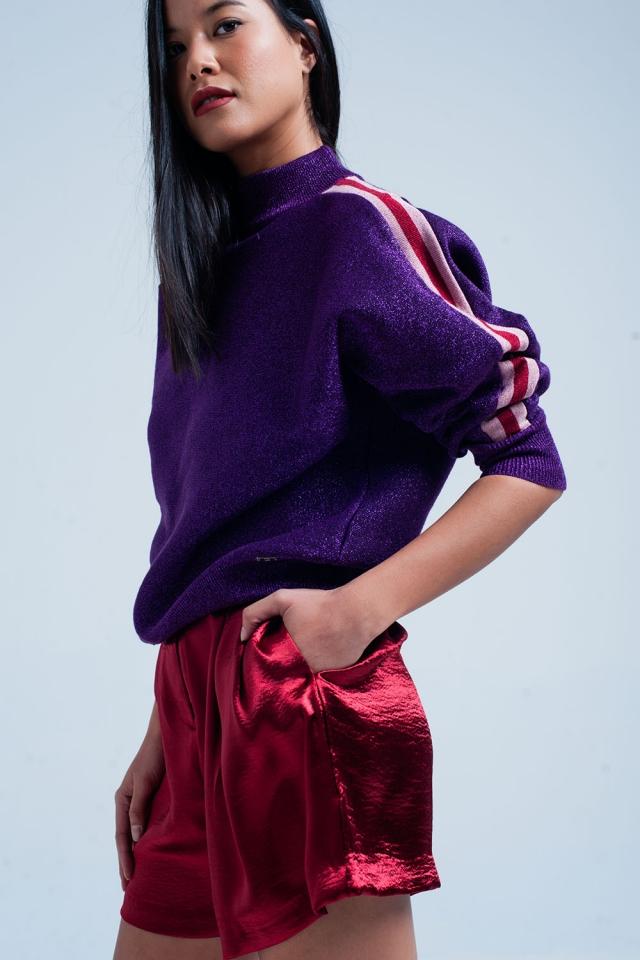 Camisola de pescoço Mock roxo em pura