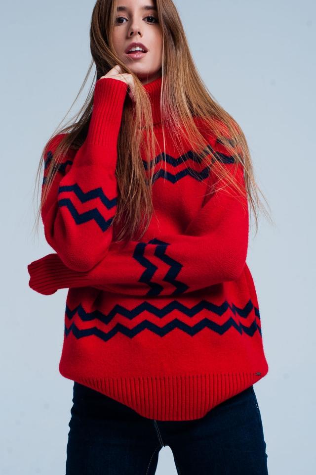Camisola de gola alta vermelha em ziguezague