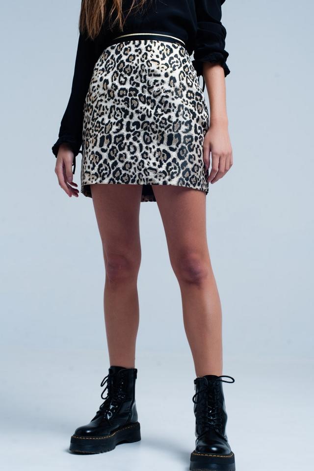 Mini saia marrom em estampa de leopardo