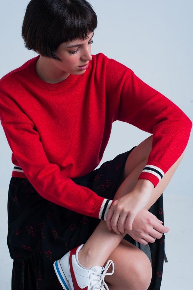 Camisola com brilho Vermelho com Detalhes de Listras