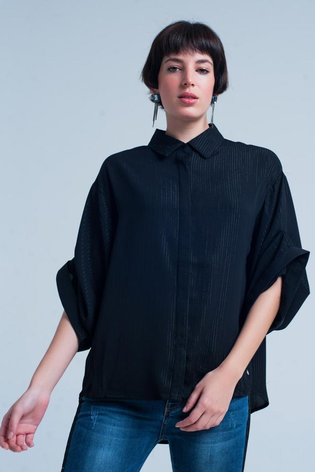 Camisa preta oversize com detalhes lurex
