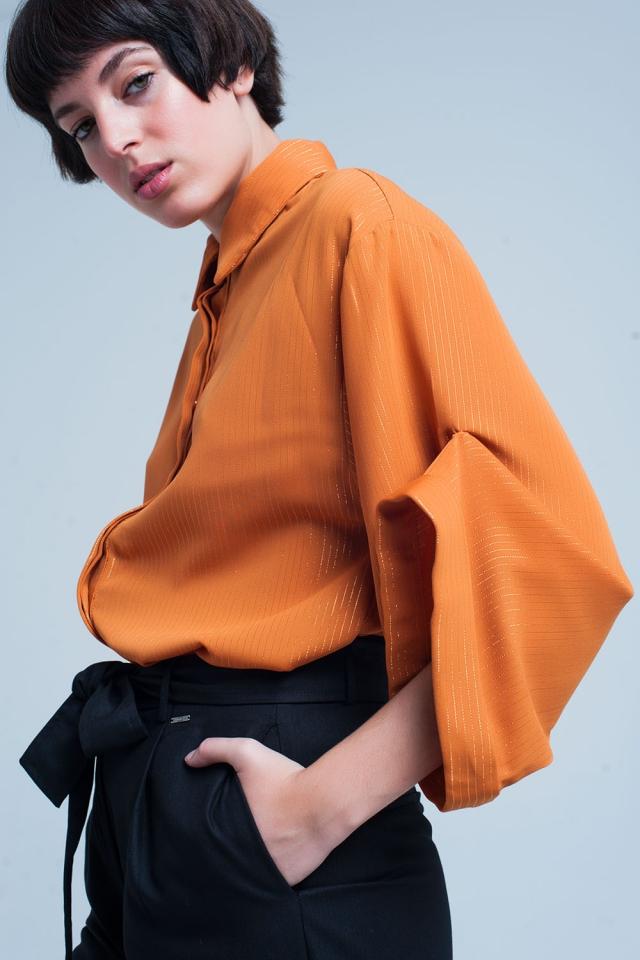 Camisa oversized mustard com detalhes Lurex