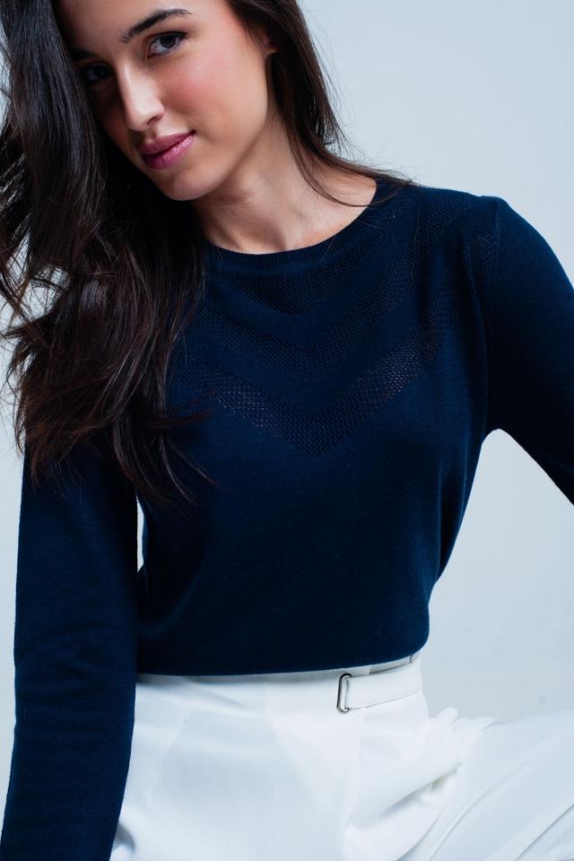 Camisola de lã da azul marinho com detalhe texturizado