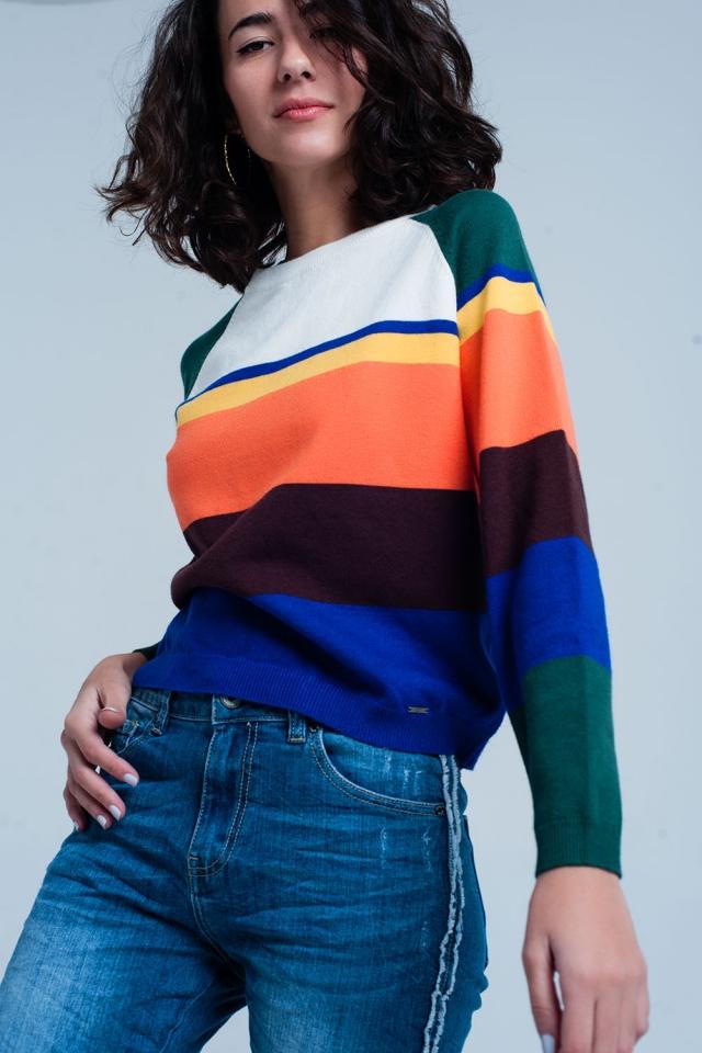 Camisola listra multi colorido azul