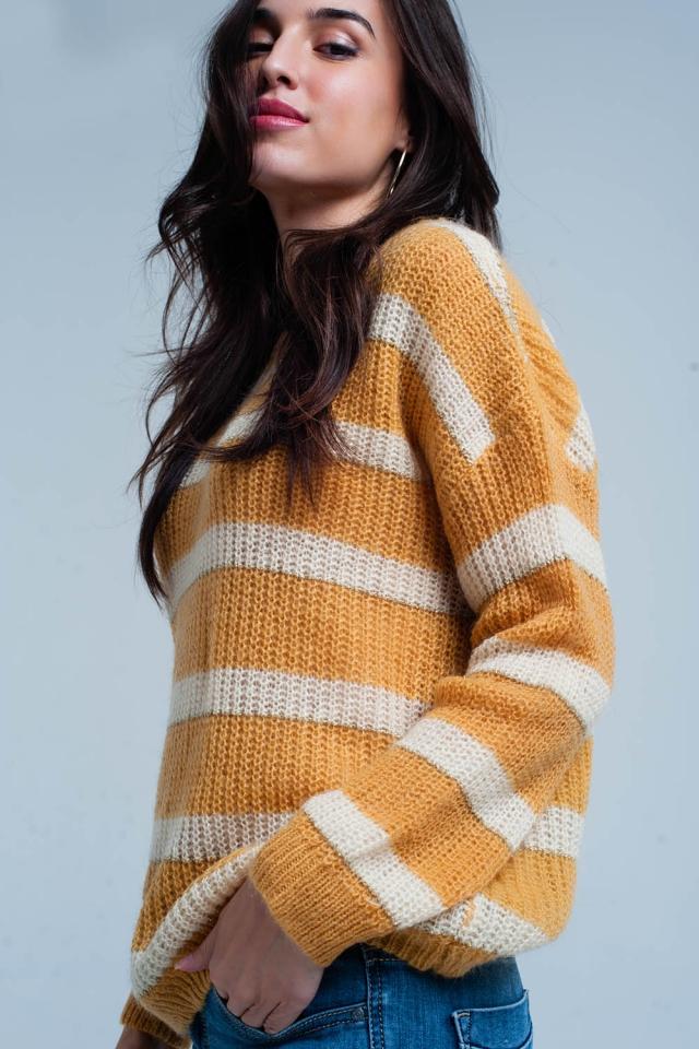 Camisola mohair listrada amarela com lurex