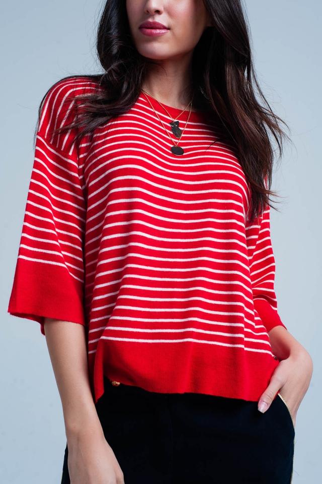 Camisola extragrande listrada vermelha