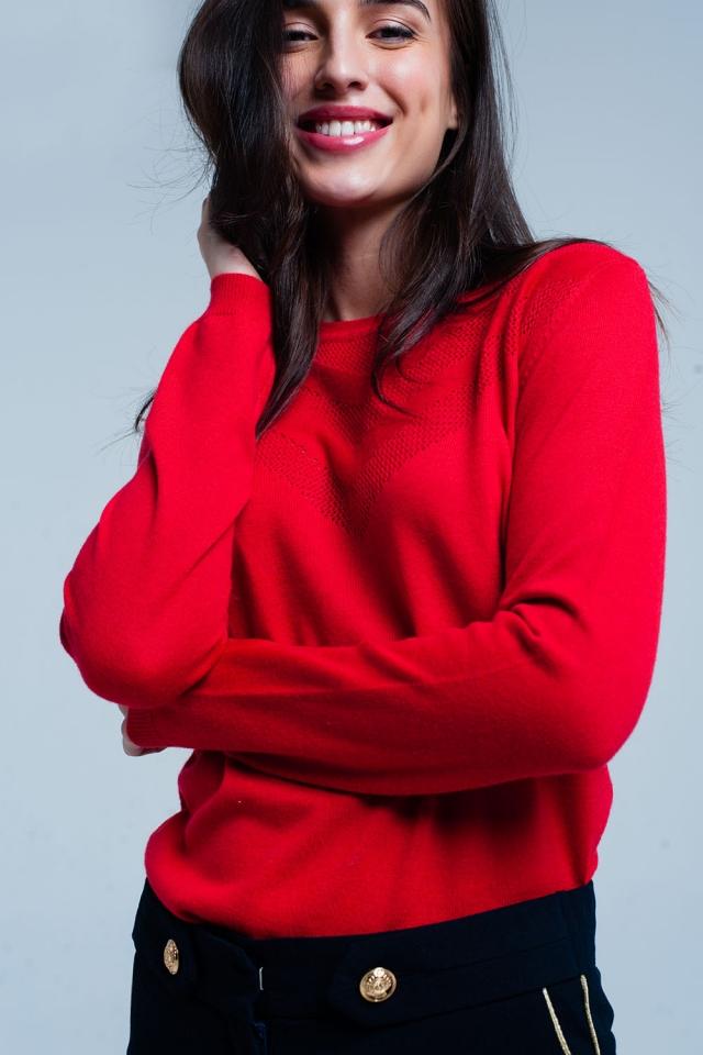 Camisola de lã verlemha com detalhe texturizado