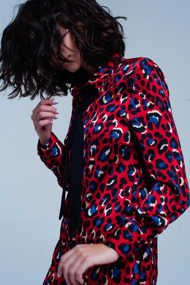 Vestido com colarinho vermelho em estampa de leopardo