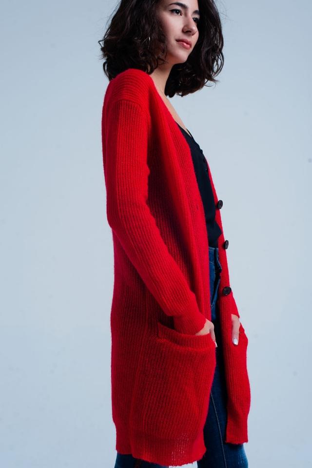 Cardigan longo abotoado vermelho com bolsos