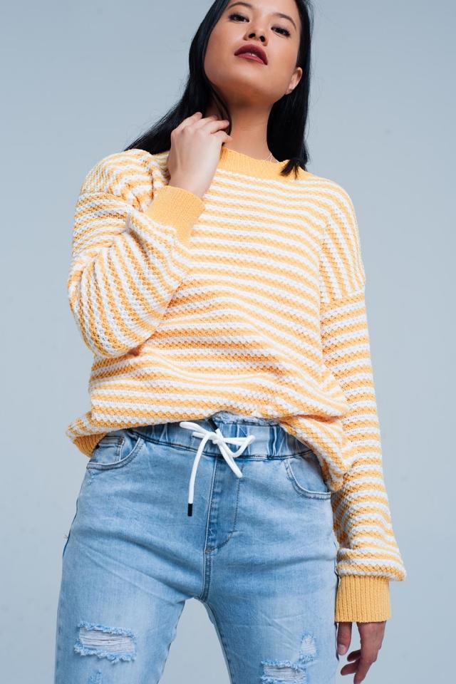 Camisola de malha amarela listrada
