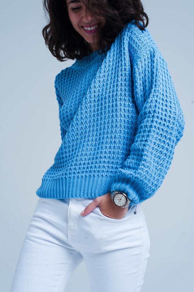 Camisola azul trabalhou pesado texturizada