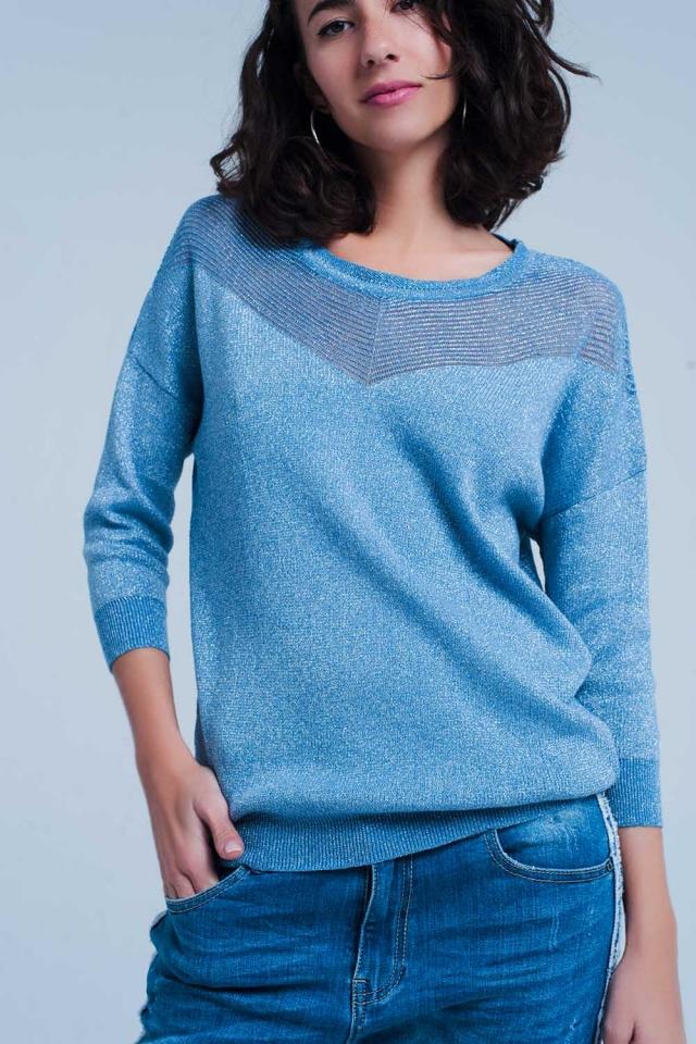 Camisola de malha metálica em azul