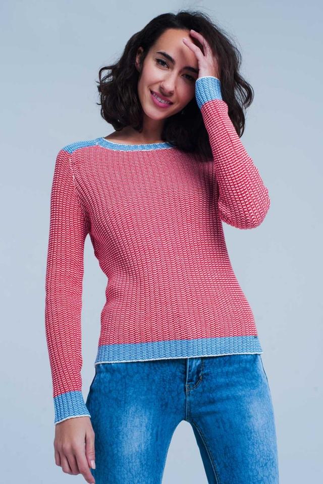 Camisola Vermelho canelada com bordas azul