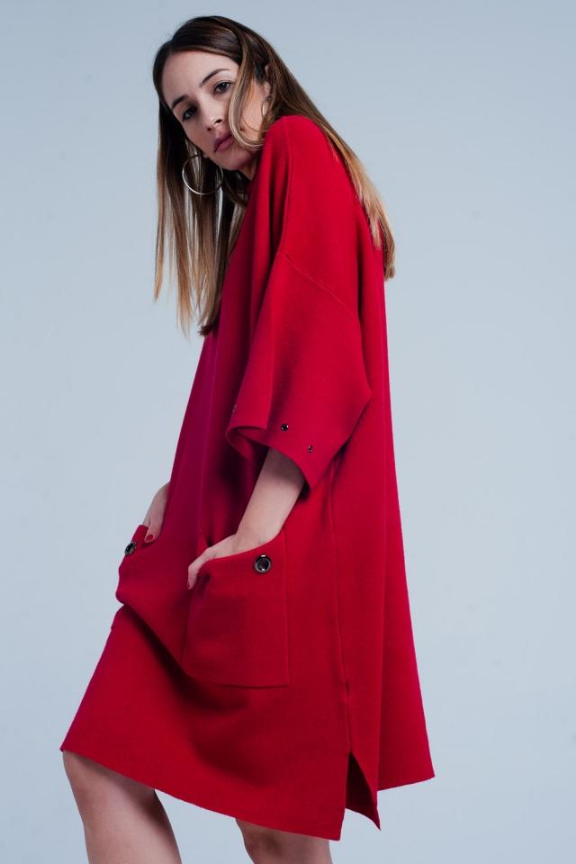 Vestido de malha vermelho com bolsos