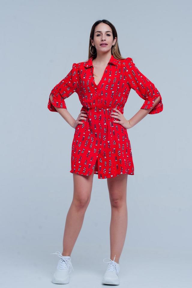 Vestido vermelho impresso com decote em v