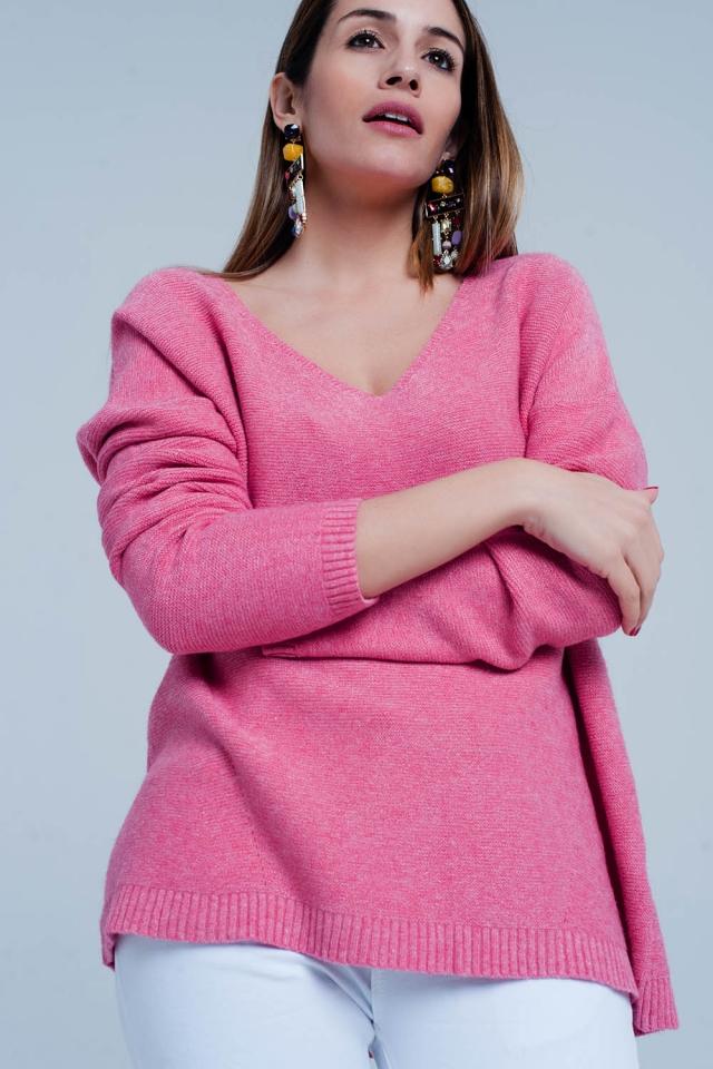 Camisola de malha macia rosa em gola v