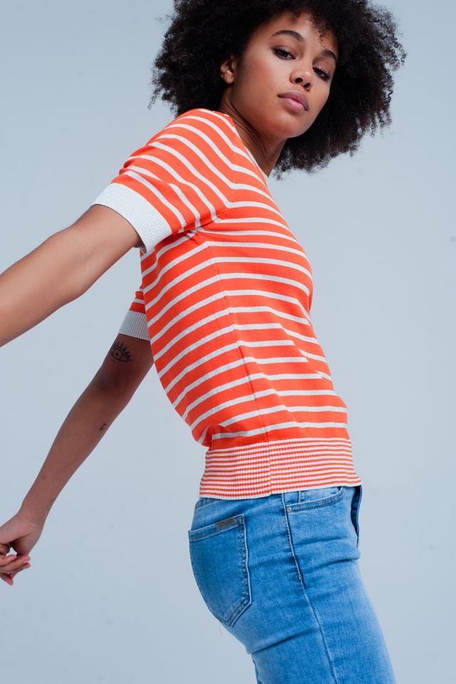 Camisola laranja listrada com brilho de manga curta