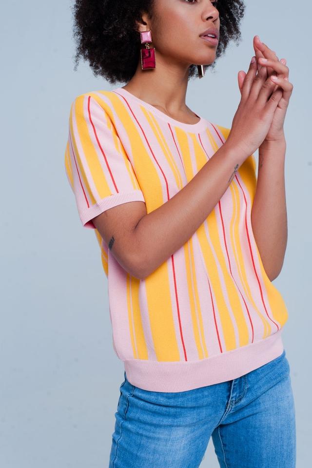 Camisola rosa listrada com manga curta