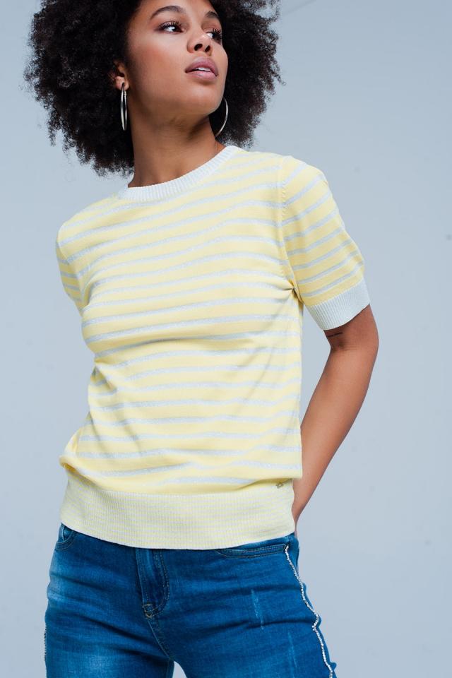 Camisola Amarelo listrada com brilho de manga curta