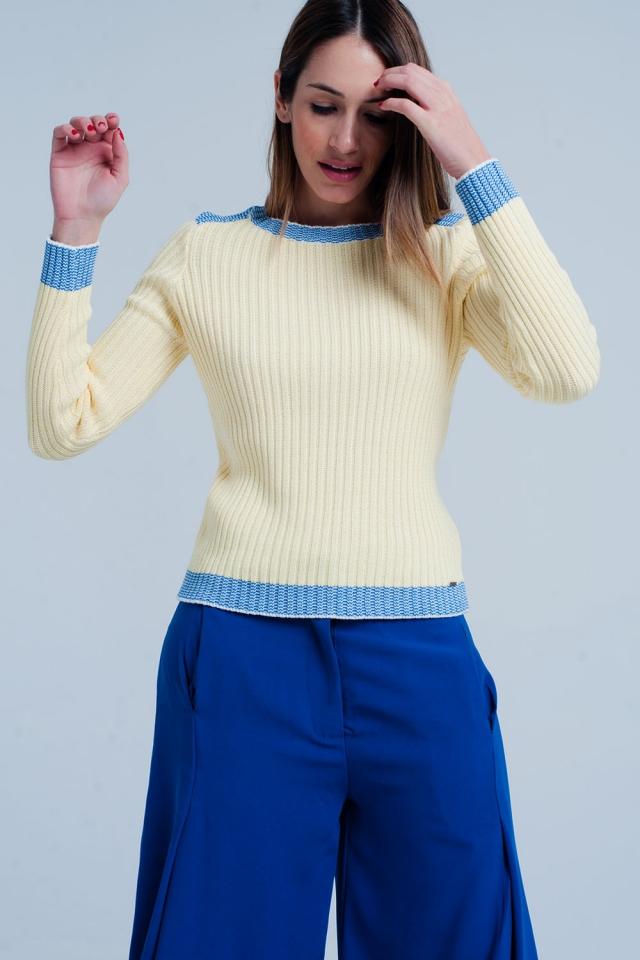 Camisola Amarelo canelada com bordas azul