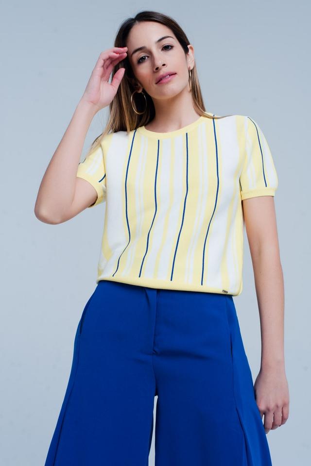 Camisola Amarelo listrada com manga curta