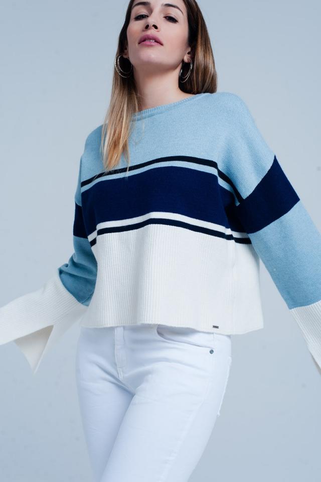 Camisola em Azul listrada com mangas queimadas