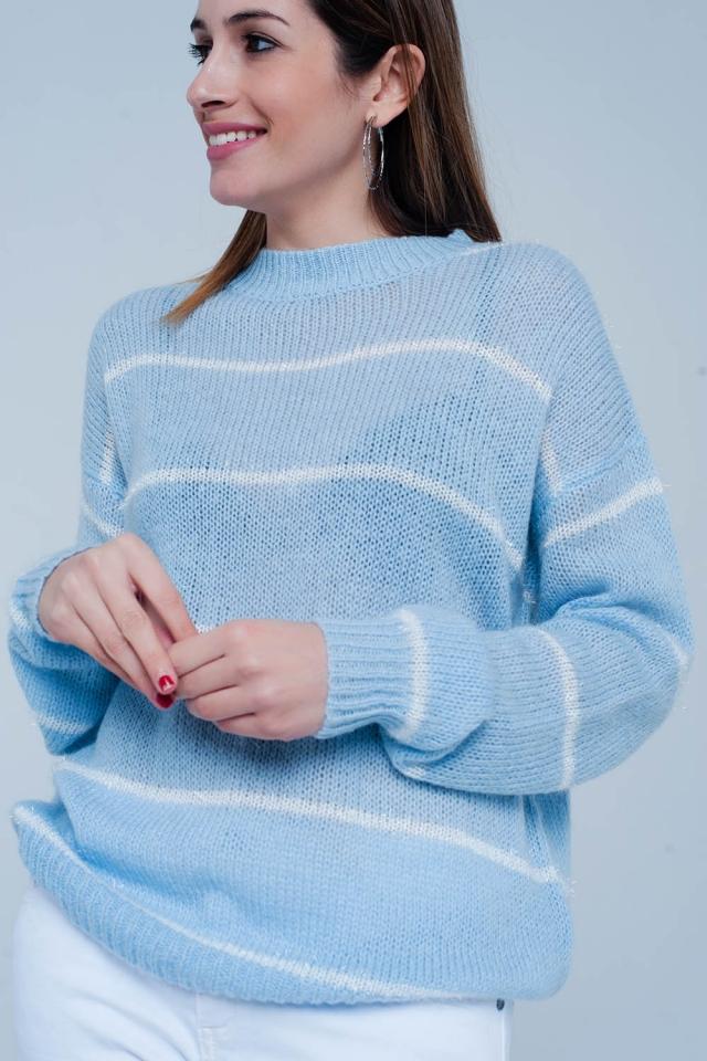Camisola Azul listrada com pescoço redondo