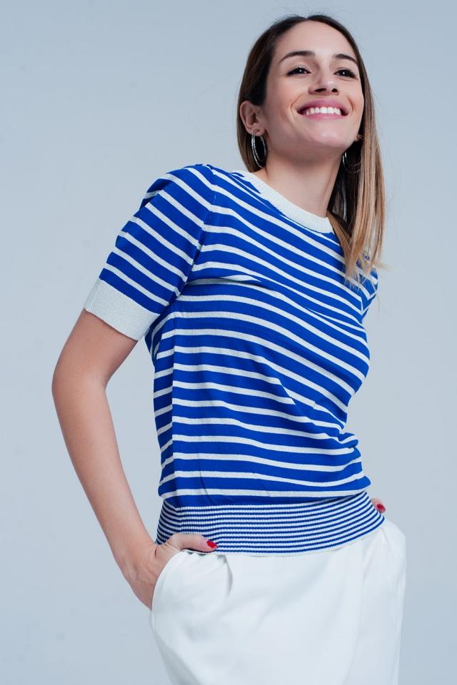 Camisola Azul listrada com brilho de manga curta